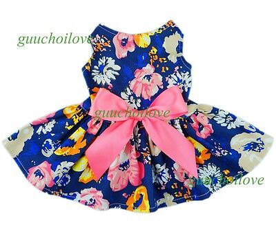 "14""Chest Stunning Flowers Dog Dress Small Pet Clothes Party Bow Apparel Shirt"
