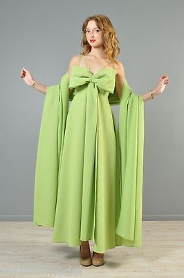 DRAMATIC BOW maxi DRESS PEAR GREEN weighty GOWN FULL SWEEP & SHAWL 2PC SET XS