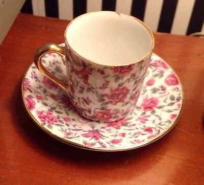 10026 Vintage Fine Bone China Gold Accented Floral Demi Tasse Tea Cup And Saucer