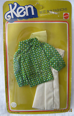 KEN BEST BUY FASHION ~ VINTAGE 1975 ~ WHITE SLACKS & GREEN PRINT SHIRT ~ NEW