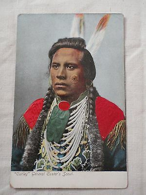 """Vtg """"Curley"""" General Custer's Scout 1916 Impessed image Postcard Native American"""