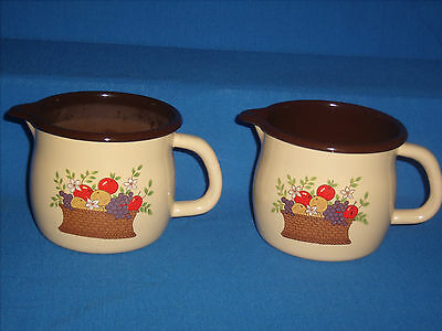 Vintage 1986 FTD Mini Tin Pitcher Fruit Basket Lot of 2  (A-7)