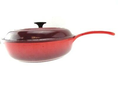 "LE CREUSET Red 12"" Diameter French Made Braiser Covered Skillet With Lid"