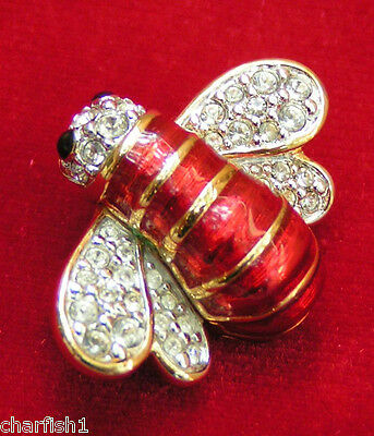 Swarovski Swan Signed Red Enamel Clear and Black Crystal Bumble Bee Pin Brooch