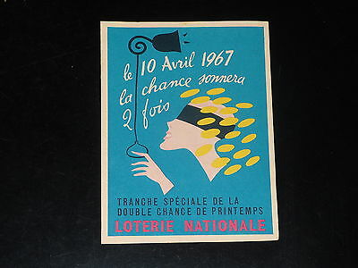 Loterie Nationale - Feuillet - Double Chance Printemps  - Avril 1967