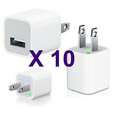 Lot 10 X 1A Universal USB AC Wall Plug Cube Charger Adapter for Apple iPhone 5 4