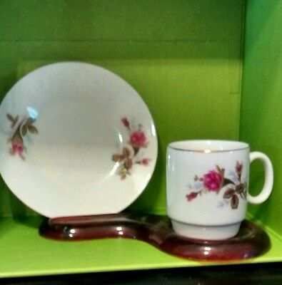 Vintage Rose pattern cup and saucer