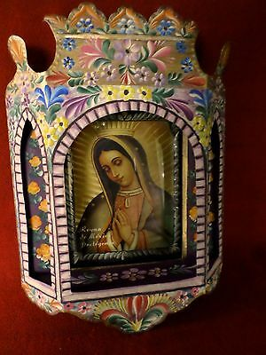 Large Mexican Folk Art Handpainted Tin Nicho Altar Shrine Virgin Guadalupe 10x14