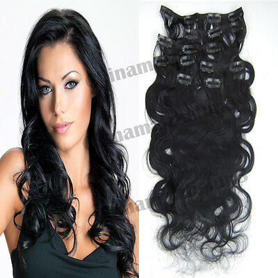 Hot 18'' 7pcs 70g Black Clip in Remy Human Hair Extensions Curly Deep Wavy