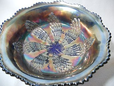 Fenton Blue Carnival Glass Fan Tail Footed Bowl ButterFly Berry Exterior