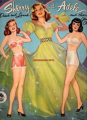 VINTAGE UNCUT 1953 SHERRY AND ADELE PAPER DOLLS REPRODUCTION~NOSTALGIC/PRETTY