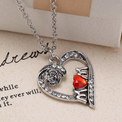 Special Mom Red Crystal Flower Heart Silver Pendant Necklace Mother Gift Jewelry