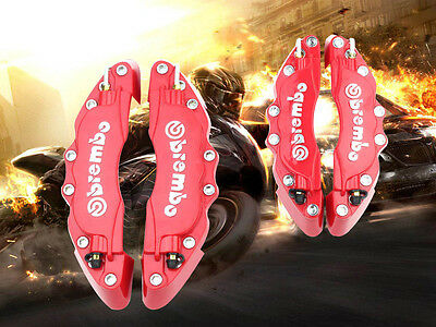 3D Red Brembo Style Universal Disc Brake Caliper Cover 4pcs Front & Rear #H18