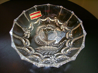 """HAND CUT """"ECHT BLEIKRISTALL"""" LEAD CRYSTAL FOOTED CANDY DISH WEST GERMANY (cv225)"""
