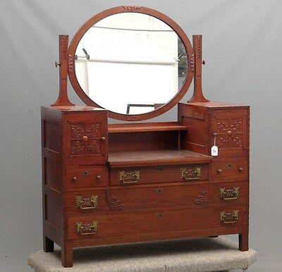 antique Art Nouveau dresser or vanity table with mirror original brass hardware