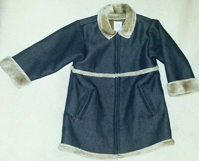 EEUC Toddler Girls Baby Gap Jean Faux Fur Jacket Zip Up Super Cute Size 2t