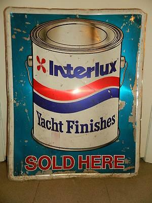 Vintage Interlux Yacht Finishes Nautical Sign Paint Stroutlite Metal Sign