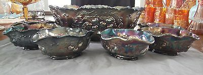 Antique Dugan Amethyst Carnival Glass Wreathed Cherry Berry Set 7 Pieces