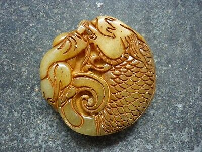China's old carved jade fuwa and leading carp pendant worth collecting PT324