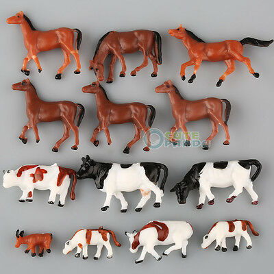 Lot 20pcs  Ho scale animals 1:87 for Model train layout ( Cow Horse)