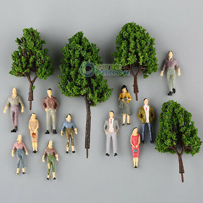 100 Painted People Figures +16 Green Model Pine Trees Train Scenery 1:50 O scale