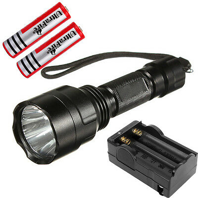 1800LM UltraFire C8 CREE XM-L T6 LED Flashlight Torch Lamp 18650 Battery+Charger