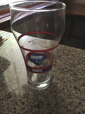 1992 Beverage MOBIL GAS Promo COCA COLA NEW YORK GIANTS GLASS Coke NY NFL Cup