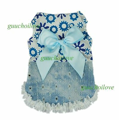 """14""""Chest Denim Floral Dog Party Dress S Pet Clothes Holiday Coat Puppy Apparel"""