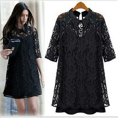 2015 Women OL slim black white plaid checkered lace dress casual sexy party club