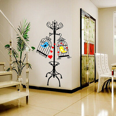 Love Birdcage&Bird Wall Sticker Decals Removable Vinyl PVC Mural Home Decor WS