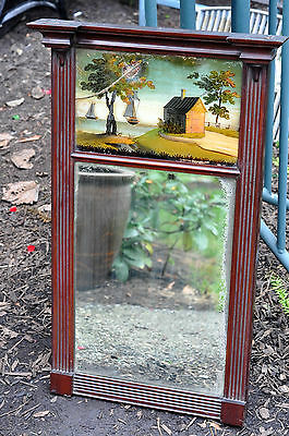 ANTIQUE AMERICAN REVERSE PAINTED FEDERAL HANGING MIRROR HOUSE FOLK ART AMERICANA