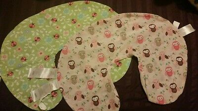 Lot of 2 original girl boppy pillow covers, lady bugs and owls