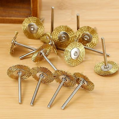 25mm Brass Wire Wheel Brush 3.17mm Shank For Rotary Tool Power Accessories x15