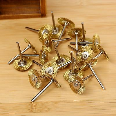 "20PCs 25mm Brass Wire Wheel Brush 1.57"" Shank Fit Rotary Tool Polishing Grinder"