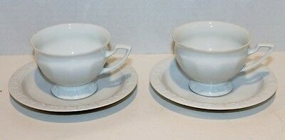 2 VTG Rosenthal Germany Maria White Rose Cups and Saucers