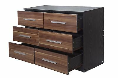 NEW Lotus - Super High Gloss Walnut|Black Oak Large 6 Drawer Chest of Drawers