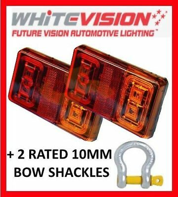 PAIR OF SUBMERSIBLE LED TRAILER LIGHTS & 2 x 10MM RATED BOW SHACKLE TAIL BOAT