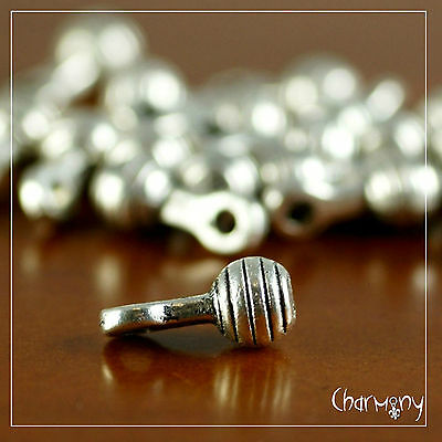 Tiny 3D Rattle charms ~PACK of 10~ Tibetan silver baby shower favor invitation