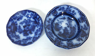 Flow Blue Child Size Scinde Plate and Unknown Pattern Rimmed Soup Bowl