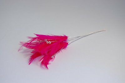 BUNCH OF 6 WIRED FEATHERS WITH DIAMANTES- Weddings Many Colours Assorted Shades