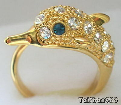 18KGP Dolphin Blue Sapphire Eyes Crystal Ring Size: 7.8.9