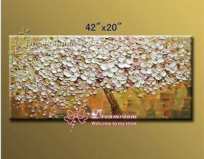 """P901 42*20"""" Hand painted Oil Canvas Wall Art home Decor Lucky flower NO Frame"""