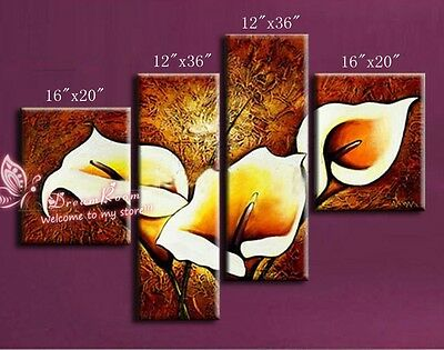P642 4pcs Hand painted Oil Canvas Wall Art home Decor Abstract flowers NO Frame