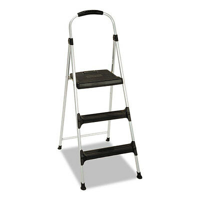 "Cosco Aluminum Step Stool, 3-Step, 225lb, 28 29/64"" Working Height,..."