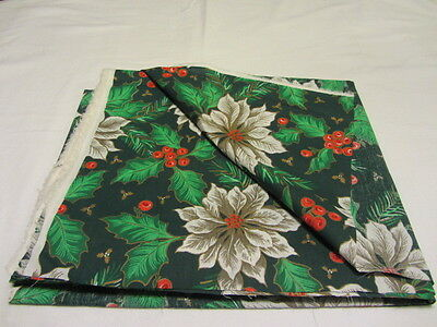 GREEN WITH WHITE POINSETTA CHRISTMAS PRINT COTTON 2-2/3 YDS SEWING FABRIC CRAFTS