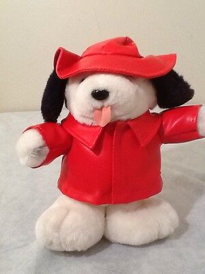 """1983 Vintage Play By Play Puppy DOG 9""""  Red Rain Coat Hat Plush Stuffed Animal"""