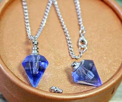 1PC. Square set pendant Murano Glass perfume bottle Screw cap NECKLACE L393
