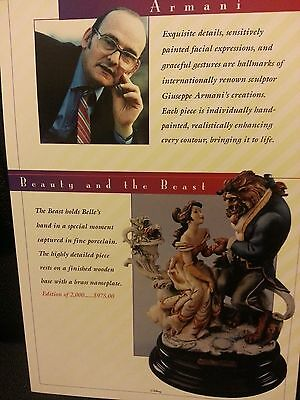 1995 DISNEYANA CONVENTION  ARMANI BEAUTY AND THE BEAST CATALOG CARD
