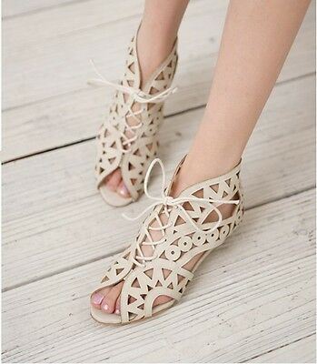 US4-11 Retro womens vintage hollow out lace up peep toe low heel sandals shoes