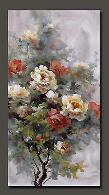 """Abstract Flower  hand painted oil painting on canvas Modern decor art 16""""x30"""""""